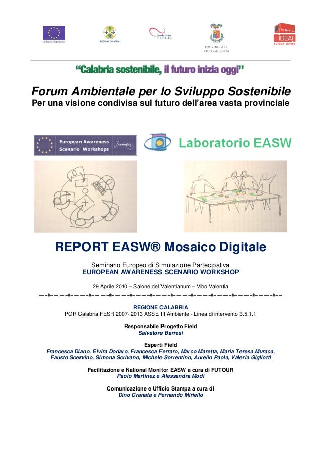 Workshop easw mody   provincia di vibo valentia  2010  forum ambientale per lo sviluppo sostenibile
