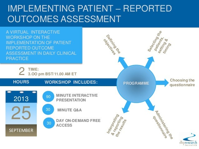 IMPLEMENTING PATIENT – REPORTEDOUTCOMES ASSESSMENTA VIRTUAL INTERACTIVEWORKSHOP ON THEIMPLEMENTATION OF PATIENTREPORTED OU...