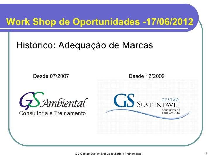 Work Shop de Oportunidades -17/06/2012 Histórico: Adequação de Marcas     Desde 07/2007                                   ...