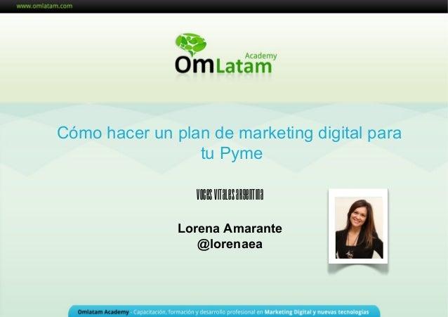 Cómo hacer un plan de marketing digital para tu Pyme Lorena Amarante @lorenaea VocesVitalesArgentina