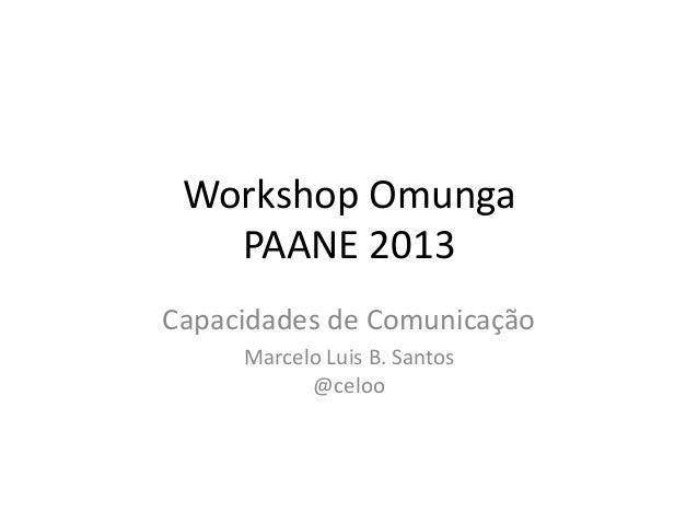 Workshop OmungaPAANE 2013Capacidades de ComunicaçãoMarcelo Luis B. Santos@celoo
