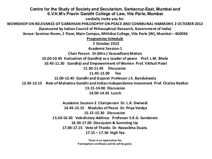 Centre for the Study of Society and Secularism, Santacruz-East, Mumbai and                    S.V.K.M's Pravin Gandhi Coll...