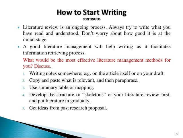 start literature review