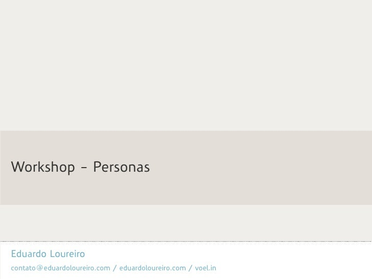 Workshop - Personas