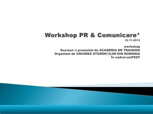 Workshop pr&comunicare