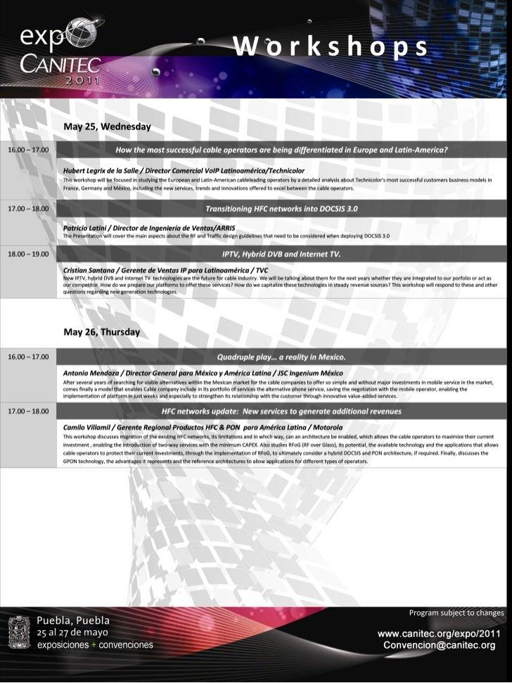 Workshops Expo Canitec 2011
