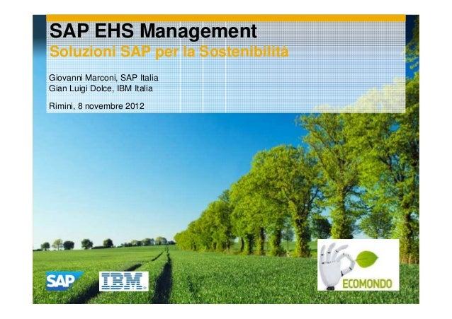 Workshop SAP e IBM ecomondo 8.11.2012