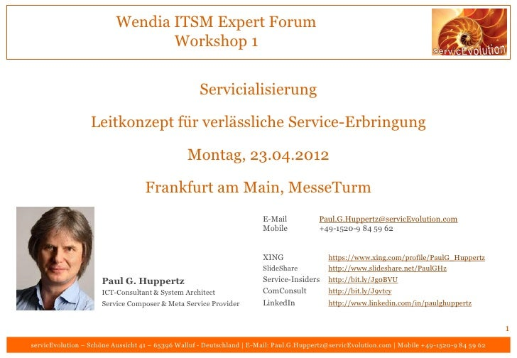 Wendia ITSM Expert Forum                                 Workshop 1                                                   Serv...