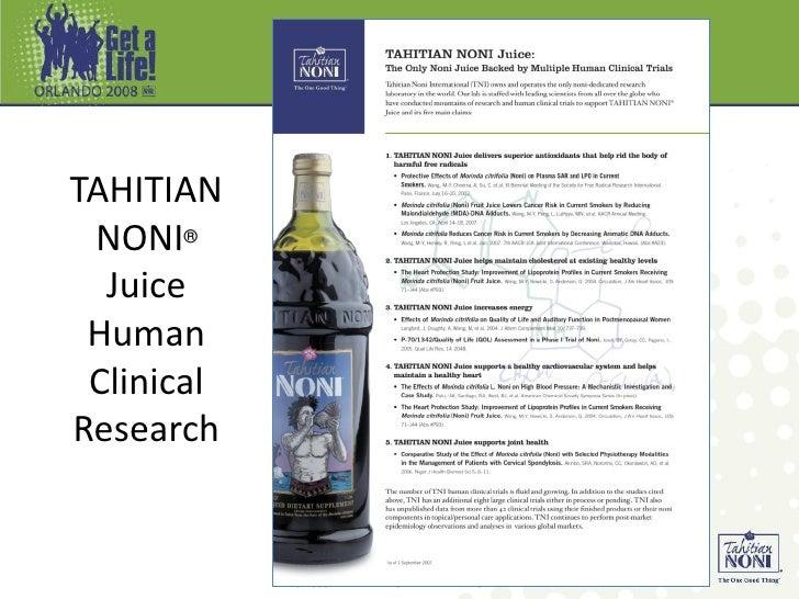 TAHITIAN NONI® Juice Human Clinical Research