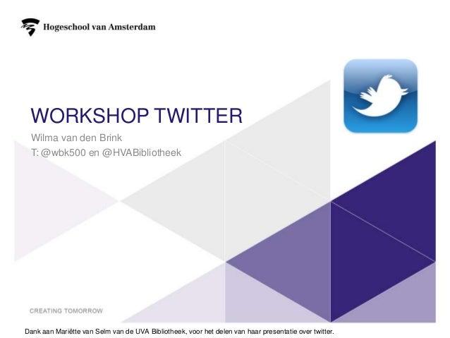 Workshop twitter HVA DEM Duaal