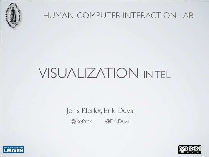 HUMAN COMPUTER INTERACTION LABVISUALIZATION IN TEL    Joris Klerkx, Erik Duval     @jkofmsk    @ErikDuval