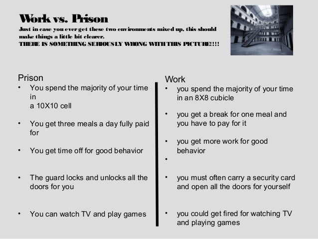 Work vs. PrisonJust in case you ever get these two environments mixed up, this shouldmake things a little bit clearer.THER...