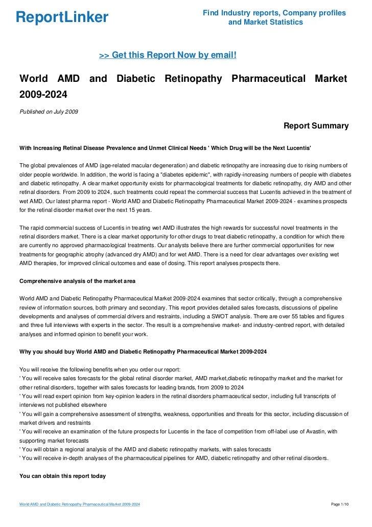 World AMD and Diabetic Retinopathy Pharmaceutical Market 2009-2024