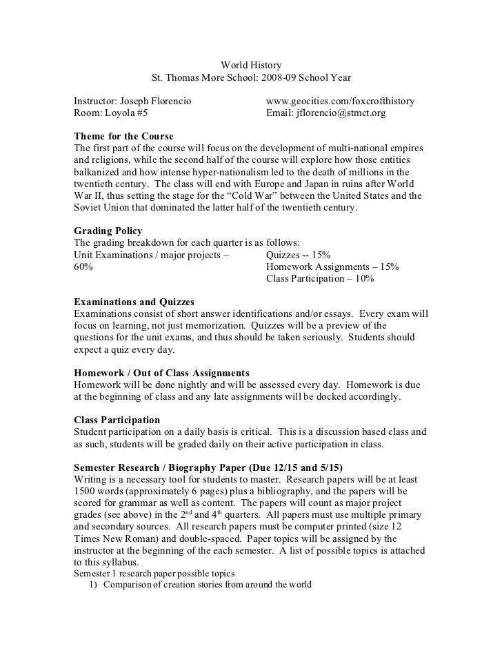 World History                    St. Thomas More School: 2008-09 School Year  Instructor: Joseph Florencio                ...