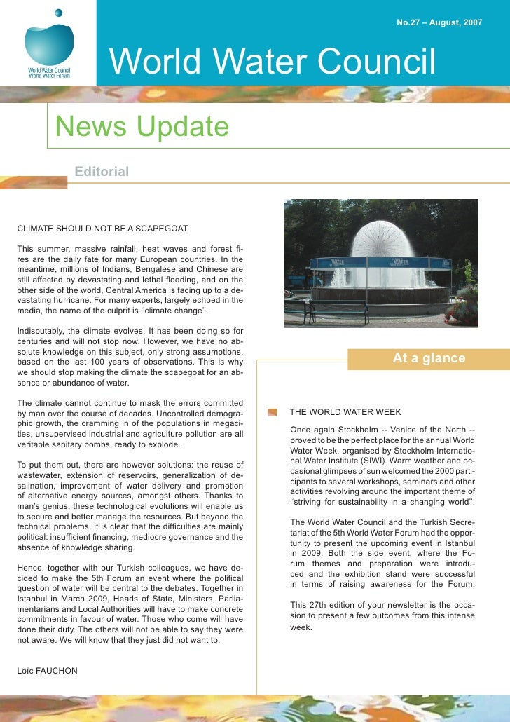 No.27 – August, 2007                              World Water Council           News Update                Editorial    CL...