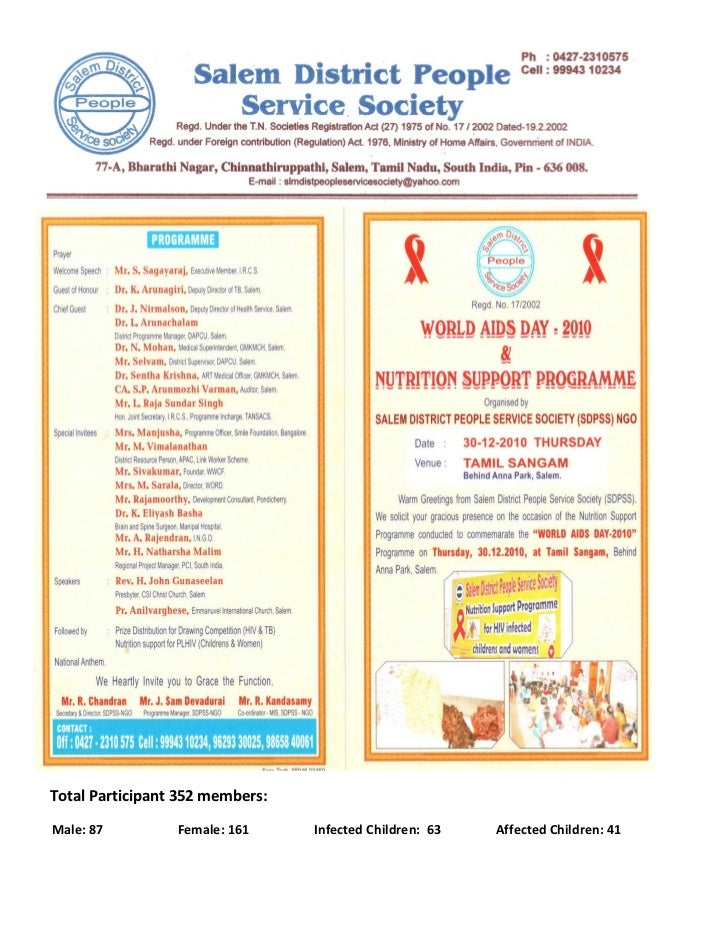 World aids day 2010 nutrition programme