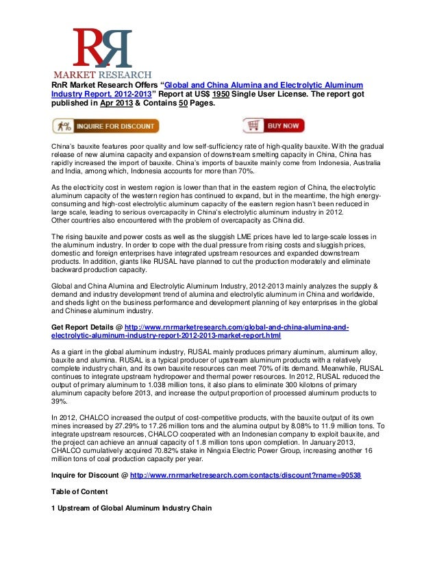 """RnR Market Research Offers """"Global and China Alumina and Electrolytic AluminumIndustry Report, 2012-2013"""" Report at US$ 19..."""