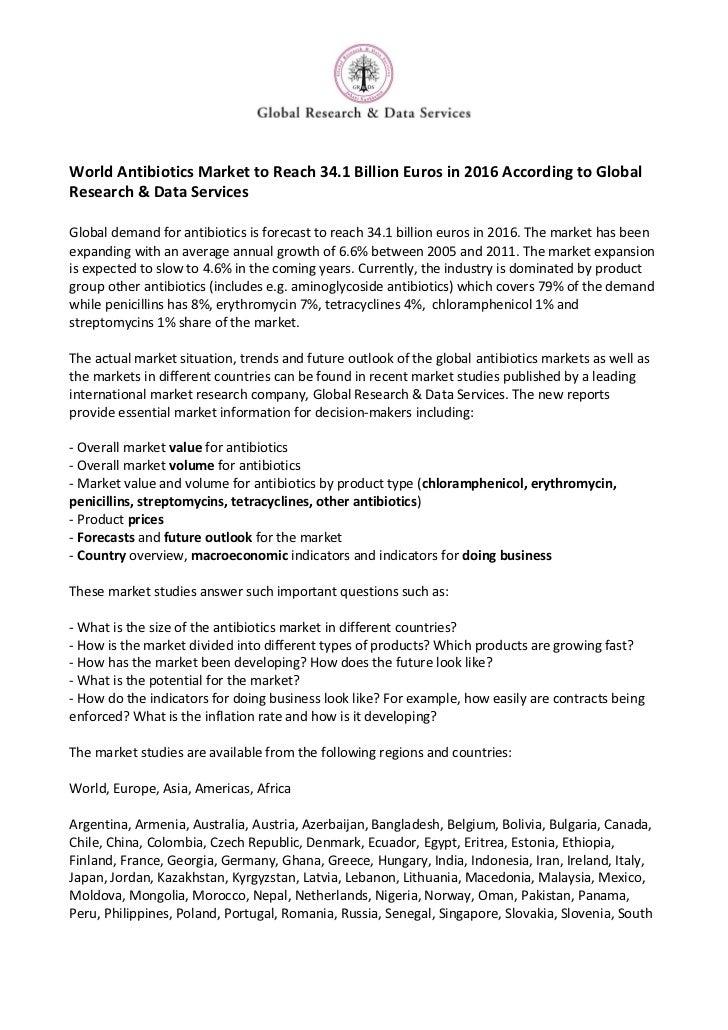 World antibiotics market to reach 34.1 billion euros in 2016 according to global research & data services