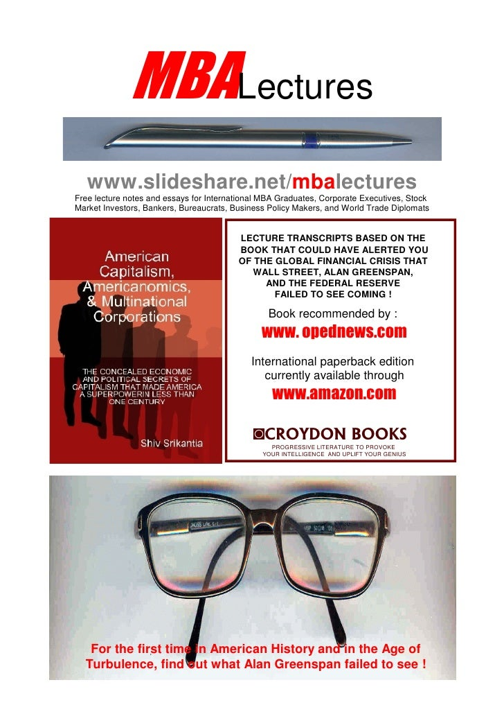 MBALectures    www.slideshare.net/mbalectures Free lecture notes and essays for International MBA Graduates, Corporate Exe...