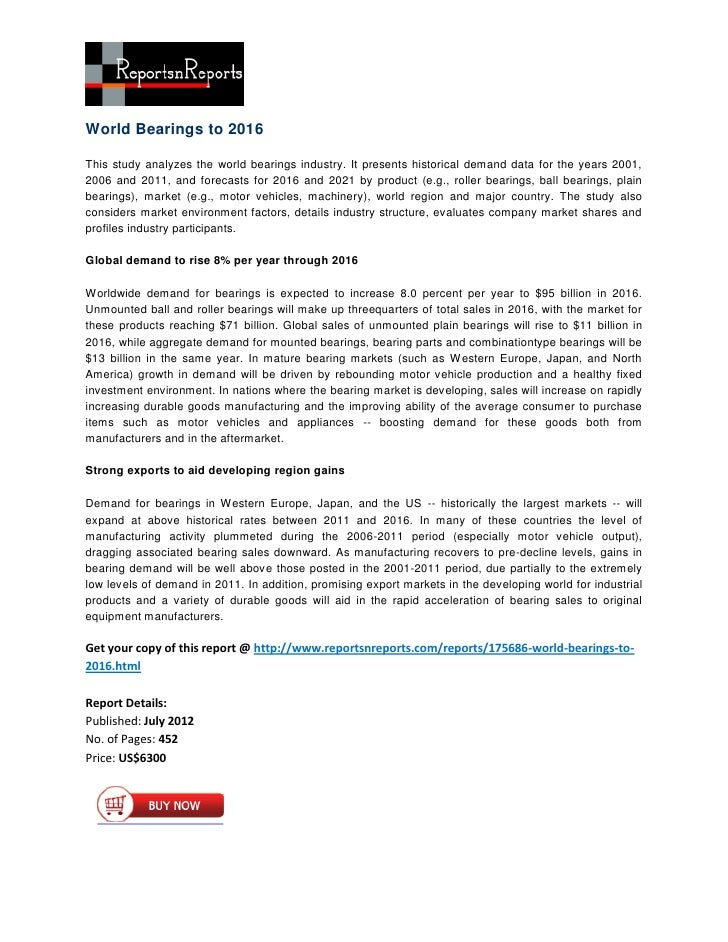 World Bearings to 2016This study analyzes the world bearings industry. It presents historical demand data for the years 20...