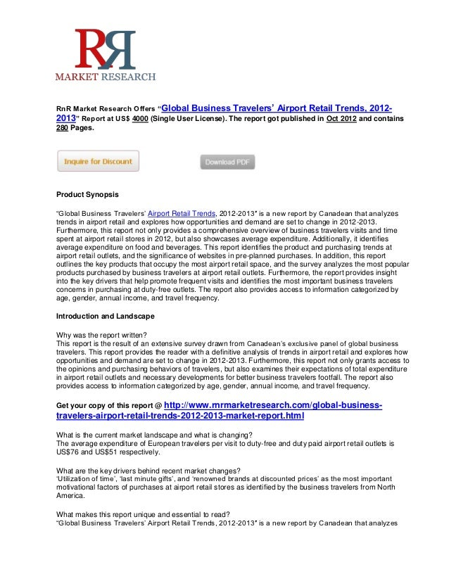 World business travelers' airport retail trends market, 2012 2013