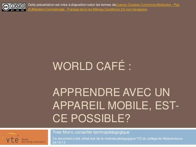 World café Matinée pédagogique au Cégep maisonneuve