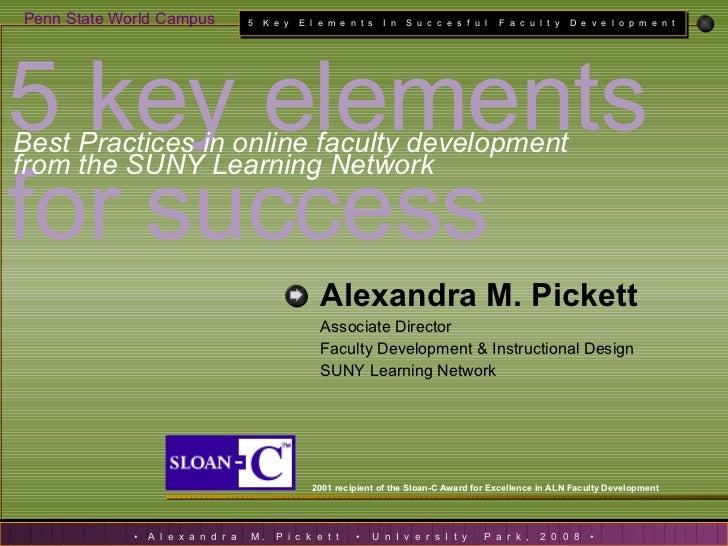 An overview of SLN\'s award-winning Faculty Development Process: 5 key elements