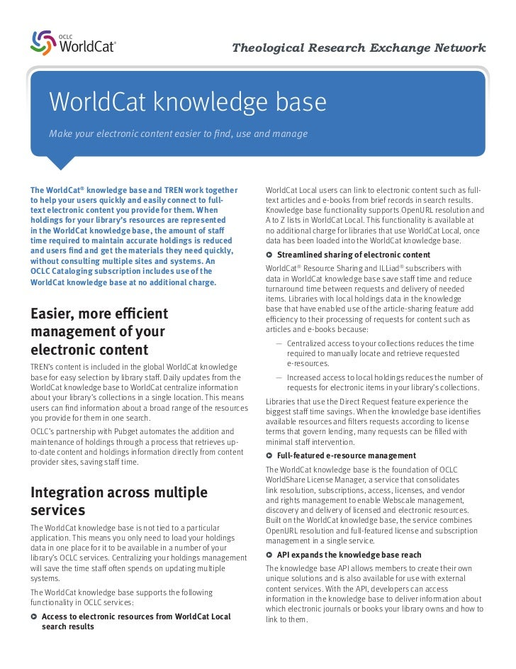 Theological Research Exchange Network     WorldCat knowledge base     Make your electronic content easier to find, use and...