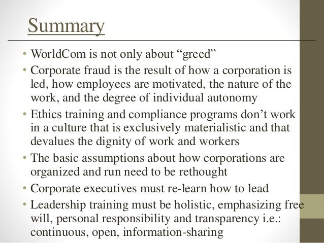 enron and worldcom scandal summary Worldcom scandal a summary of worldcom fraud would include having to describe the greed that would eventually destroy one of the enron and worldcom scandals essay.