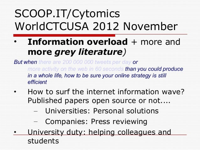 SCOOP.IT/CytomicsWorldCTCUSA 2012 November•    Information overload + more and     more grey literature)But when there are...