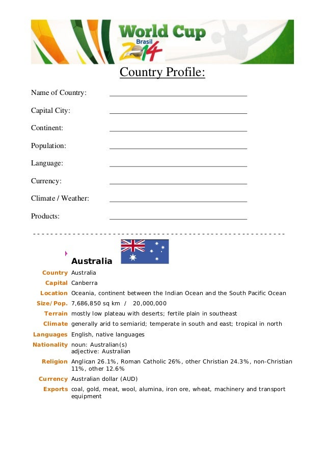 Country Profile: Name of Country: Capital City: Continent: Population: Language: Currency: Climate / Weather: Products: - ...