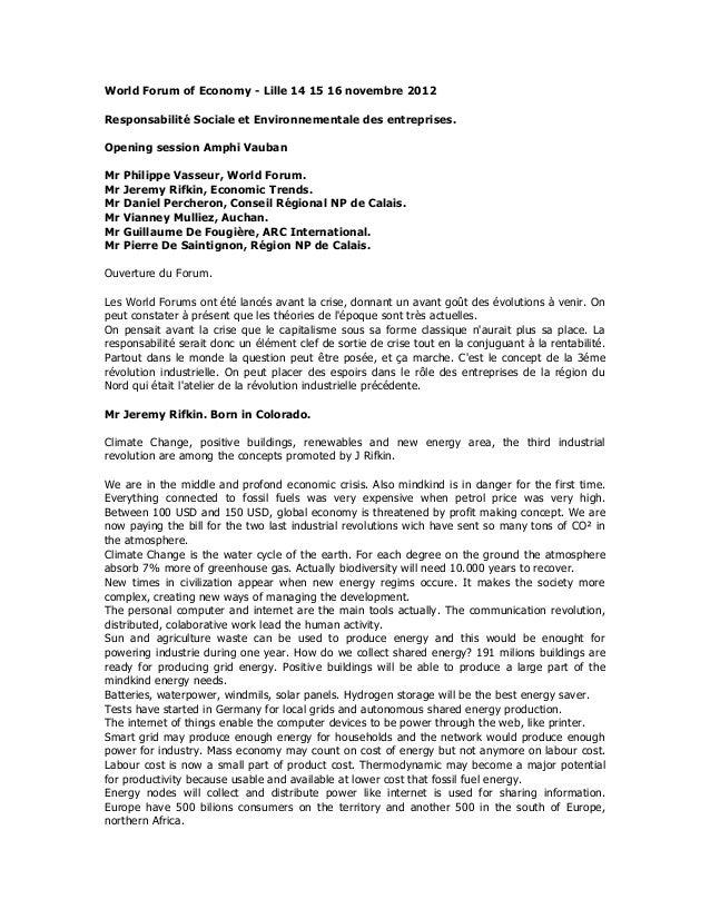 World Forum of Economy - Lille 14 15 16 novembre 2012Responsabilité Sociale et Environnementale des entreprises.Opening se...