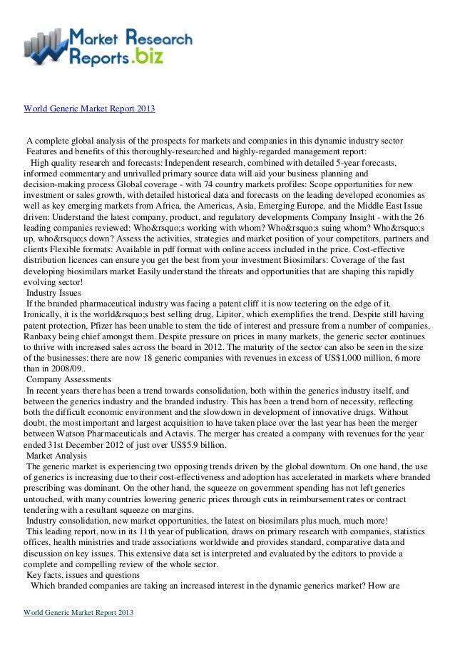 Top Viewed Report: World generic market report 2013 by marketresearchreports.biz