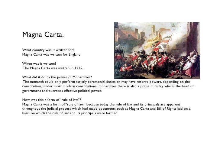 Magna Carta.What country was it written for?Magna Carta was written for EnglandWhen was it written?The Magna Carta was wri...