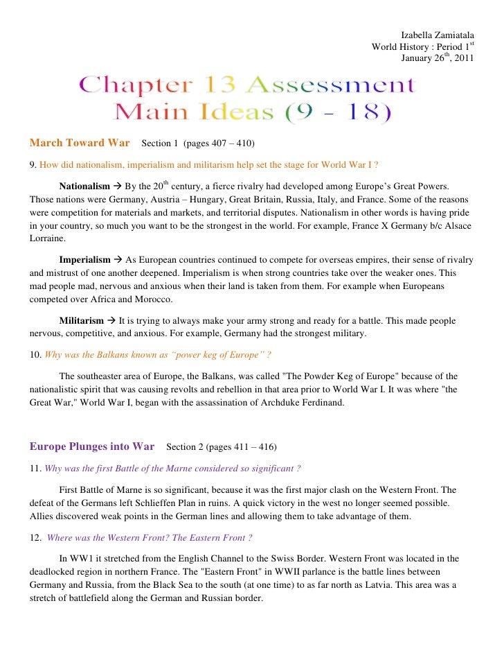 World history   chapter 13 assessment - main ideas (9-18)