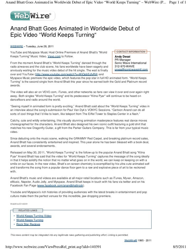 "Anand Bhatt Goes Animated in Worldwide Debut of Epic Video ""World Keeps Turning"" – WebWire (P... Page 1 of 1  Anand Bhatt ..."
