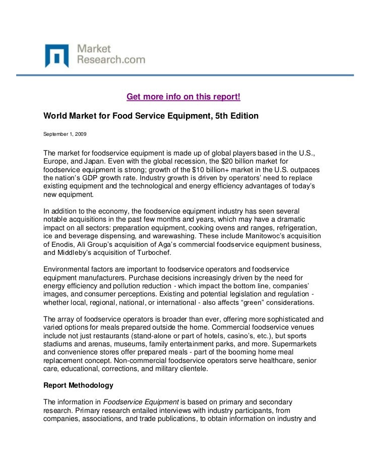 World Market for Food Service Equipment, 5th Edition