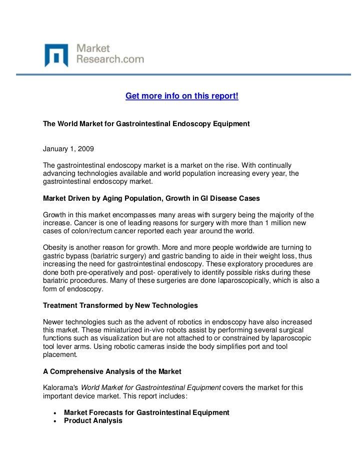 World Market for Gastrointestinal Endoscopy Equipment, The