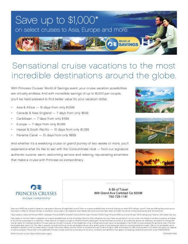 Save up to $1000 per couple is based on a per person discount off applicable Launch Fares on a space available basis at ti...