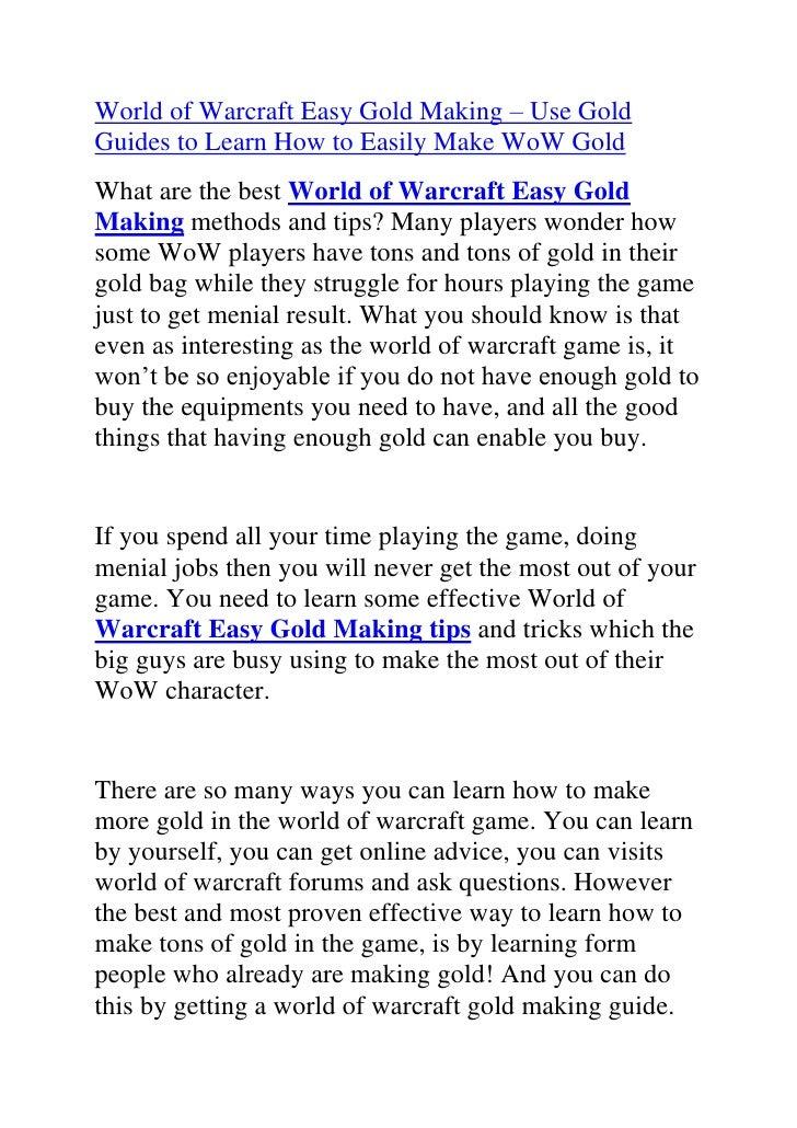 World of warcraft easy gold making