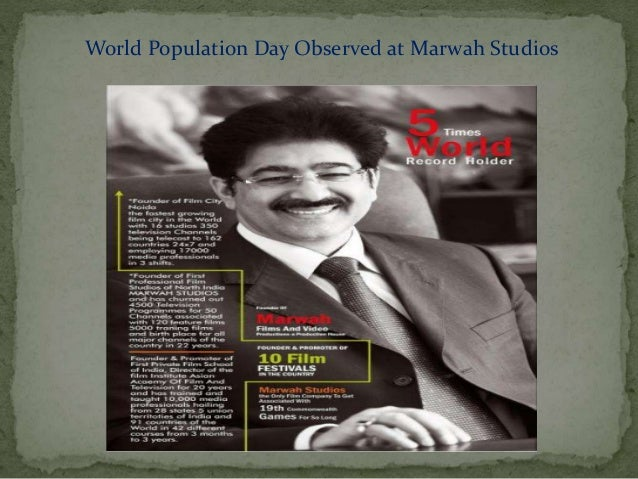 World Population Day Observed at Marwah Studios