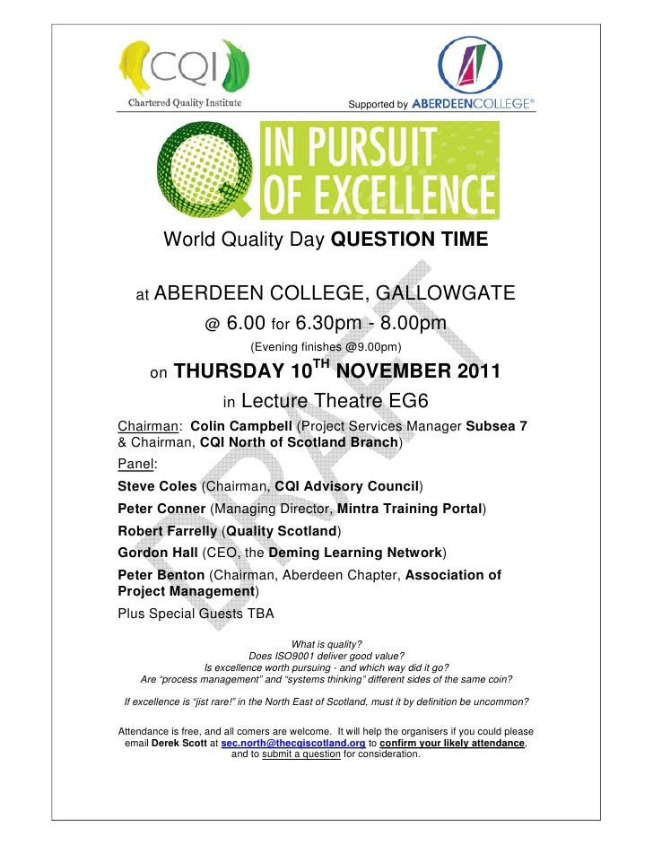 Supported by          World Quality Day QUESTION TIME    at ABERDEEN            COLLEGE, GALLOWGATE                    @ 6...