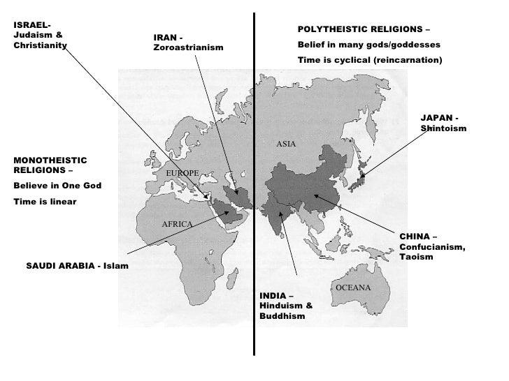 ISRAEL- Judaism & Christianity SAUDI ARABIA - Islam IRAN - Zoroastrianism INDIA – Hinduism & Buddhism CHINA – Confucianism...