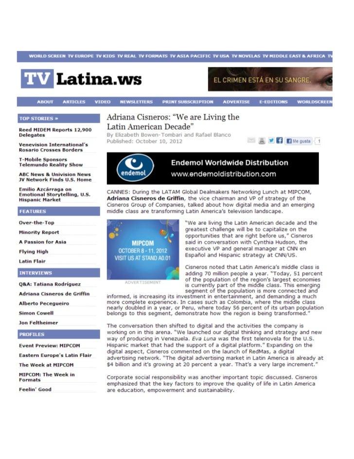 "Adriana Cisneros: ""We are Living the Latin American Decade"""