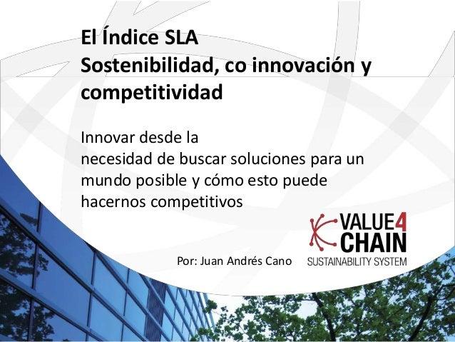 El Índice SLA Sostenibilidad, co innovación y competitividad Innovar desde la necesidad de buscar soluciones para un mundo...