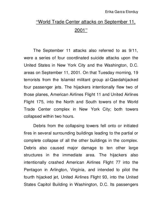 "Erika Garza Elorduy      ""World Trade Center attacks on September 11,                              2001""     The September..."