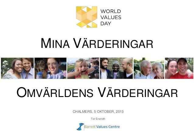 MINA VÄRDERINGAR CHALMERS, 5 OKTOBER, 2013 Tor Eneroth OMVÄRLDENS VÄRDERINGAR