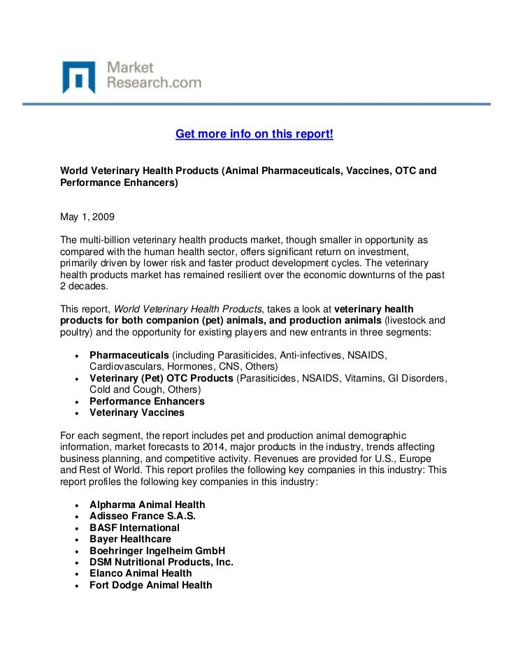 World Veterinary Health Products (Animal Pharmaceuticals, Vaccines, OTC and Performance Enhancers)