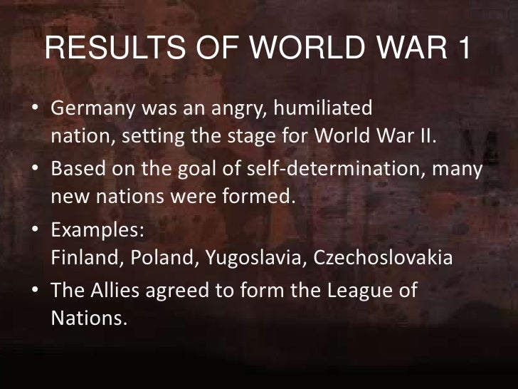 results of world war 1 essay The great war 1914 -1918 was the results of world war 1 essay //www pinkmonkey com/studyguides/subjects/euro_his/chap4/e0404601 htm he first world war.