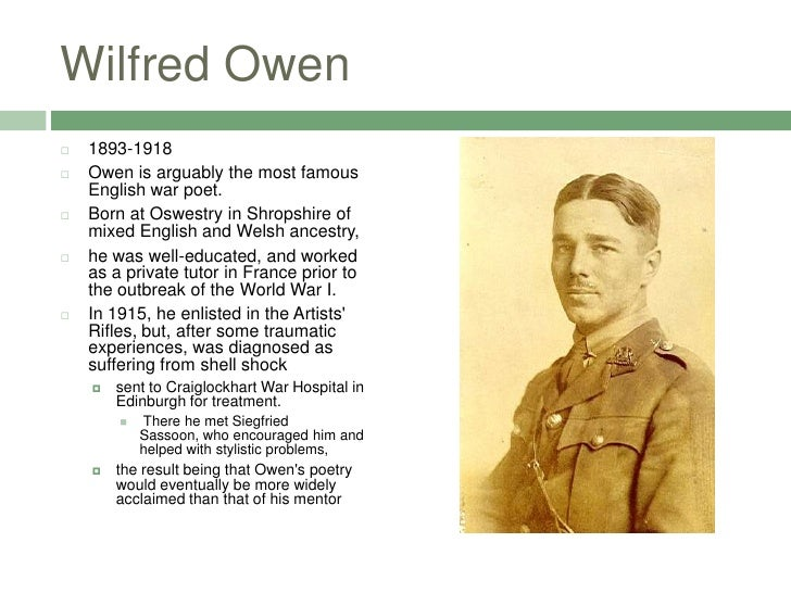 war poets owen sorley Our 4 day poets on the western front tour guided by historian simon jones examines much of the literature and art of the great war often in the locations they were created.